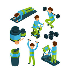sport people isometric exercises and fitness vector image