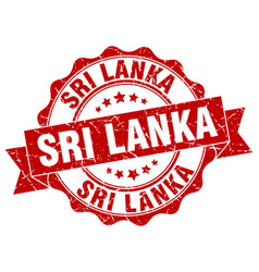Sri lanka round ribbon seal vector