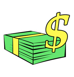 Stack of dollars icon icon cartoon vector
