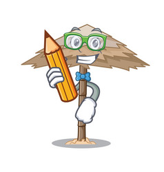 Student character tropical sand beach shelter vector