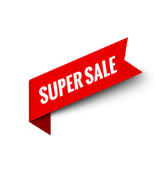 super sale ribbon banner red promotion vector image
