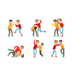 Teenage boys fighting and quarreling set vector