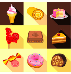 Various candy elements icons set flat style vector