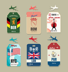 Vintage luggage tags vector