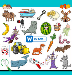 W is for educational game for children vector