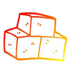 Warm gradient line drawing cartoon stacked bricks vector