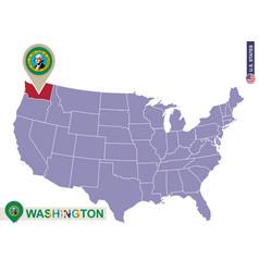 Washington state on usa map washington flag and vector