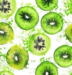 Watercolor kiwi seamless pattern vector image