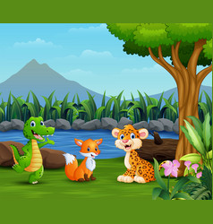 wild animals playing on the beautiful landscape vector image