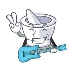 With guitar mortar mascot cartoon style vector