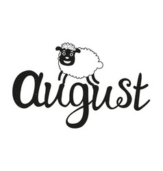 With sheep and lettering word - august vector