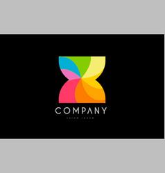 x rainbow colors logo icon alphabet design vector image