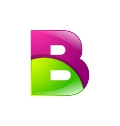 B letter green and pink logo design template vector image vector image