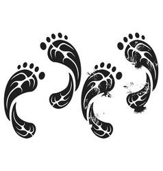black grunge carbon eco footprints vector image
