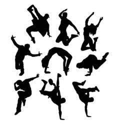 Break Dancing Hip Hop Activity Silhouettes vector image vector image