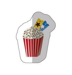 color background sticker of popcorn container with vector image vector image