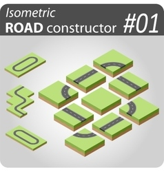 Isometric road constructor - 01 vector image