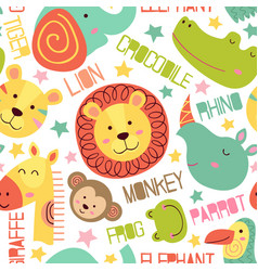 seamless pattern with heads of jungle animals vector image vector image