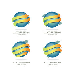 sphere arrow logo set vector image vector image