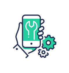 mobile device repair - modern line design vector image