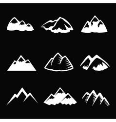 Mountain white icons set Tourism simbols vector image vector image