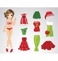 Paper Christmas Brunette Doll vector image