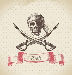 Pirate skull hand drawn vector image