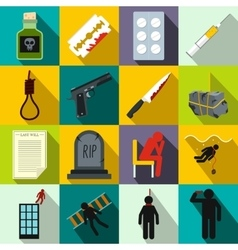 Suicide icons set flat style vector image vector image