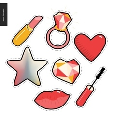 Patches hand drawn set vector