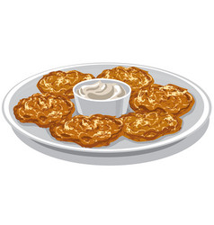 potato pancakes on plate vector image vector image