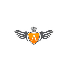 wing shield crown initial a vector image