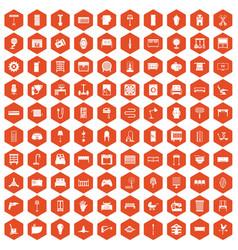 100 furnishing icons hexagon orange vector