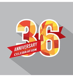 36th Years Anniversary Celebration Design vector image