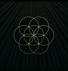 A background with a golden flower of life vector