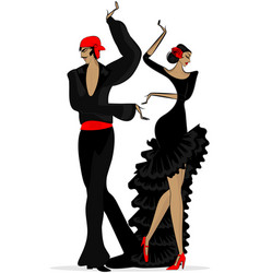 Abstract flamenco couple in black vector