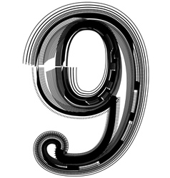 Abstract font number 9 vector