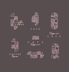 art deco coffee labels brown vector image