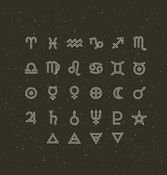 Astrology symbols and mystic signs set vector