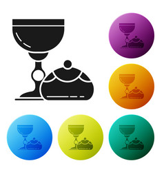 Black jewish goblet and hanukkah sufganiyot icon vector