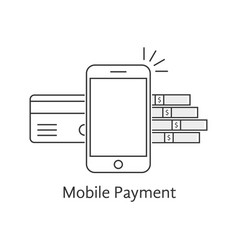 black mobile payment thin line icon vector image