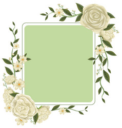 Border template with white roses vector