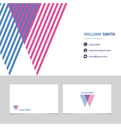 Business card template with a letter w vector