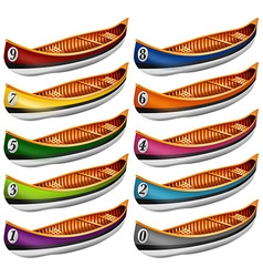 Canoes in different colors vector