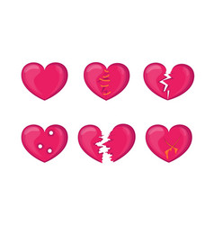 Cartoon broken hearts icons set vector