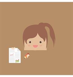 Cartoon doodle girl rectangle business vector
