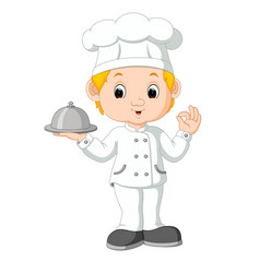 Cartoon funny chef holding a silver platter vector