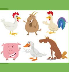 cartoon happy farm animal characters set vector image