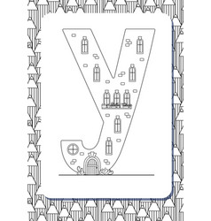 Cartoon letter y drawn in the shape of house vector