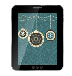 Christmas card with balls and snowflakes on tablet vector image