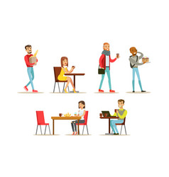 collection people sitting at tables drinking vector image